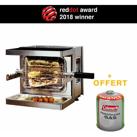 GREADEN Mini Barbecue à Gaz Mobile Beef Chef - Grill Puissant 800°C - Red Dot Award Allemand BBQ Jardin extérieur Piquenique/Camping