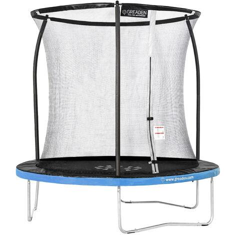 GREADEN Trampoline de jardin Freestyle Bleu 250 fitness extérieur Ø 244cm - Filet de sécurité/coussin de protection/tapis de saut