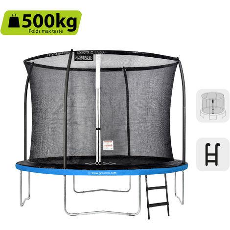 GREADEN Trampoline de jardin Freestyle Bleu 305 Set complet avec Filet coussin de protection + Échelle Ø 305cm - Ultra sécurisé