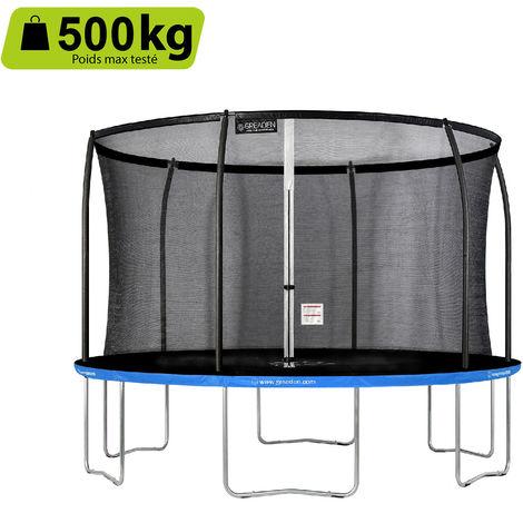 GREADEN Trampoline de jardin Freestyle Bleu 360 fitness extérieur Ø 366cm - Filet de sécurité/coussin de protection/tapis de saut