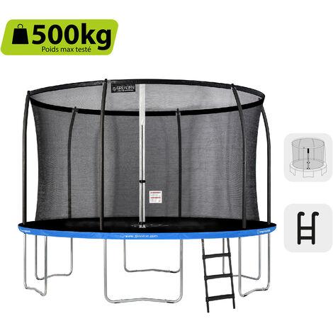 GREADEN Trampoline de jardin Freestyle Bleu 360 Set complet avec Filet coussin de protection + Échelle Ø 366cm - Ultra sécurisé