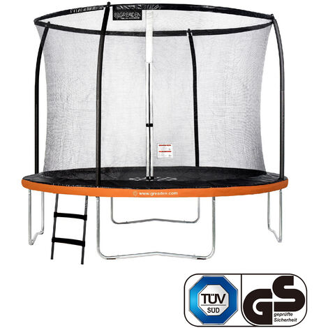 GREADEN Trampoline de jardin Freestyle Orange 305 Set complet avec Filet coussin de protection + Échelle Ø 305cm - Ultra sécurisé