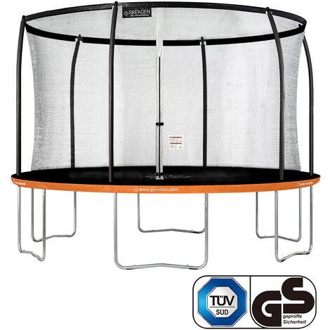 GREADEN Trampoline de jardin Freestyle Orange 360 fitness extérieur Ø 366cm - Filet de sécurité/coussin de protection/tapis de saut
