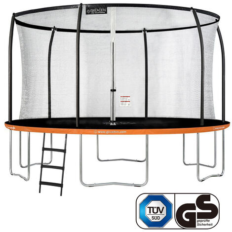 GREADEN Trampoline de jardin Freestyle Orange 430 Set complet avec Filet coussin de protection + Échelle Ø 427cm - Ultra sécurisé
