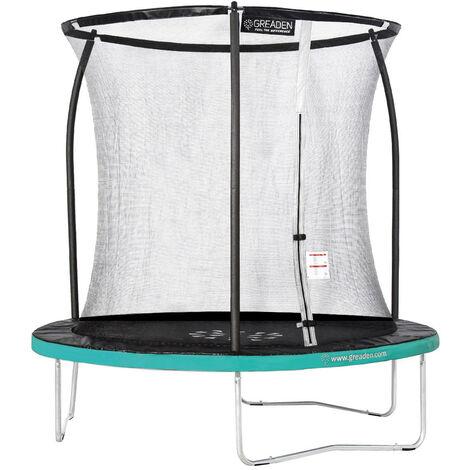 GREADEN Trampoline de jardin Freestyle Vert 250 fitness extérieur Ø 244cm - Filet de sécurité/coussin de protection/tapis de saut