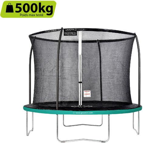 GREADEN Trampoline de jardin Freestyle Vert 305 fitness extérieur Ø 305cm - Filet de sécurité/coussin de protection/tapis de saut