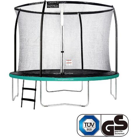 GREADEN Trampoline de jardin Freestyle Vert 305 Set complet avec Filet coussin de protection + Échelle Ø 305cm - Ultra sécurisé