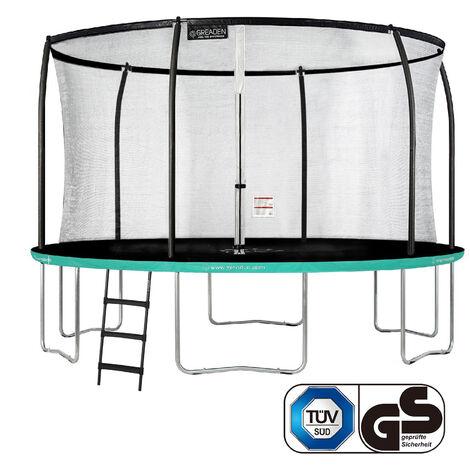 GREADEN Trampoline de jardin Freestyle Vert 430 Set complet avec Filet coussin de protection + Échelle Ø 427cm - Ultra sécurisé