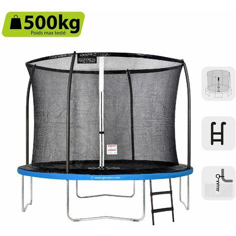 GREADEN Trampoline de jardin Rond Bleu 305 avec Filet coussin de protection + Échelle/Kit d'ancrage jeux extérieur - Normes EU|Sécurisé