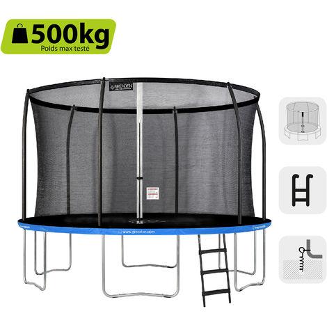 GREADEN Trampoline de jardin Rond Bleu 360 avec Filet coussin de protection + Échelle/Kit d'ancrage jeux extérieur - Normes EU|Sécurisé