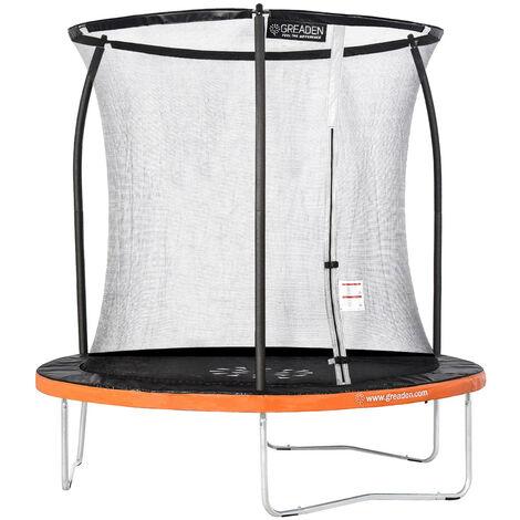 GREADEN Trampoline de jardin Freestyle Orange 250 fitness extérieur Ø 244cm - Filet de sécurité/coussin de protection/tapis de saut