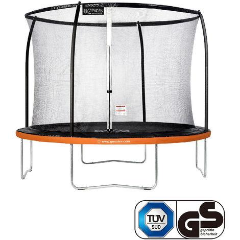 GREADEN Trampoline de jardin Freestyle Orange 305 fitness extérieur Ø 305cm - Filet de sécurité/coussin de protection/tapis de saut