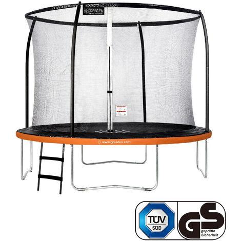 GREADEN Trampoline de jardin Freestyle Orange 305 Set complet avec Filet coussin de protection + Échelle Ø 305cm - Ultra sécurisé