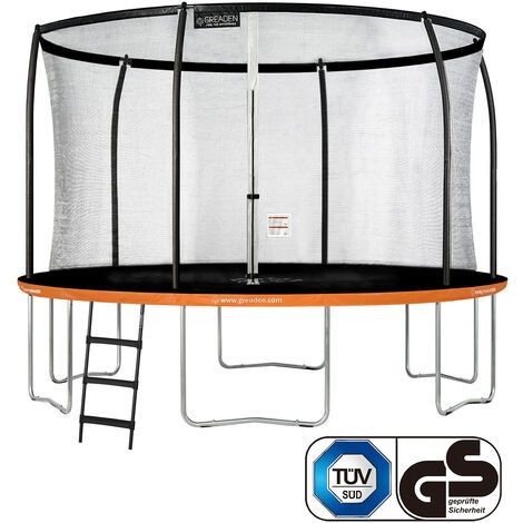 GREADEN Trampoline de jardin Freestyle Orange 360 Set complet avec Filet coussin de protection + Échelle Ø 366cm - Ultra sécurisé