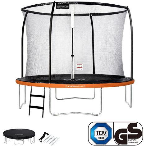 GREADEN Trampoline de jardin Rond Orange 305 avec Filet coussin de protection + Échelle/Kit d'ancrage/Housse jeux extérieur - Normes EU|Sécurisé