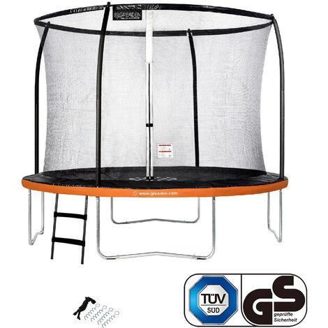 GREADEN Trampoline de jardin Rond Orange 305 avec Filet coussin de protection + Échelle/Kit d'ancrage jeux extérieur - Normes EU|Sécurisé