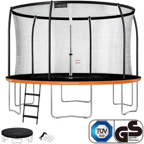 GREADEN Trampoline de jardin Rond Orange 360 avec Filet coussin de protection + Échelle/Kit d'ancrage/Housse jeux extérieur - Normes EU|Sécurisé