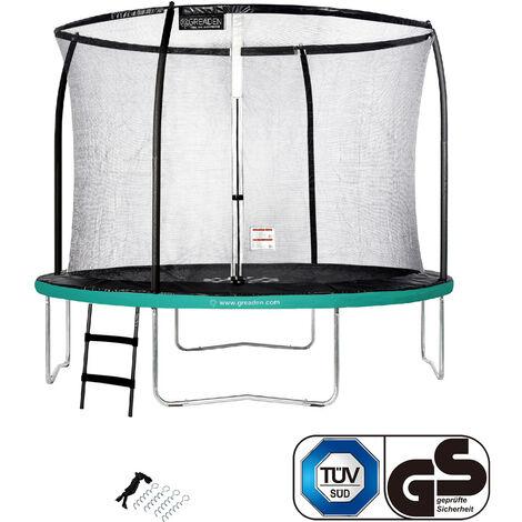 GREADEN Trampoline de jardin Rond Vert 305 avec Filet coussin de protection + Échelle/Kit d'ancrage jeux extérieur - Normes EU|Sécurisé