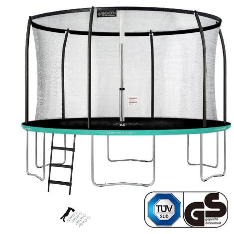 GREADEN Trampoline de jardin Rond Vert 360 avec Filet coussin de protection + Échelle/Kit d'ancrage jeux extérieur - Normes EU|Sécurisé