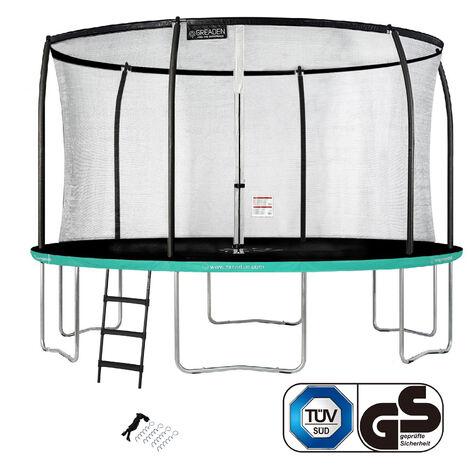 GREADEN Trampoline de jardin Rond Vert 430 avec Filet coussin de protection + Échelle/Kit d'ancrage jeux extérieur - Normes EU|Sécurisé