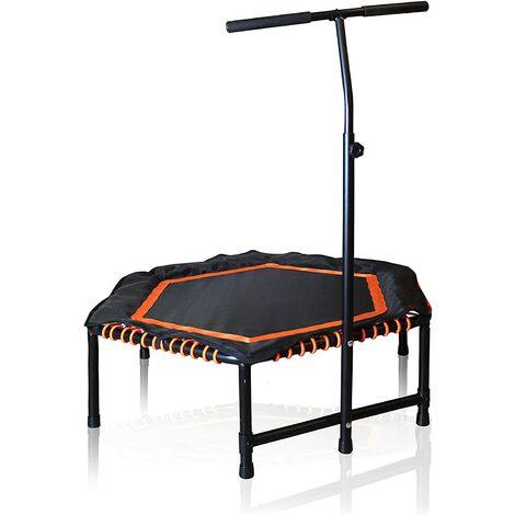 GREADEN Trampoline Fitness Hexagone Professionnel Poignée de Maintien en Forme, Gym Fitness Entraînement Musculaire, Equilibre, Couvre rebords Inclus, Maximale 120kg & Outil Tire Ressort