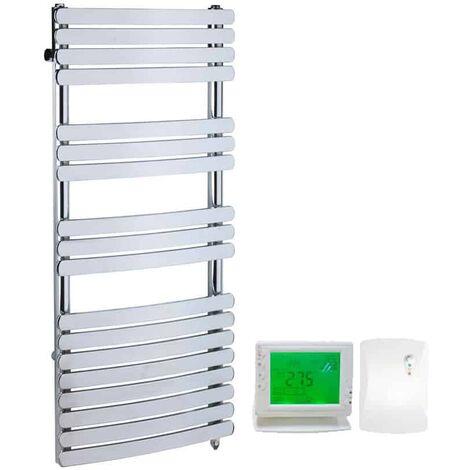GREEBA Flat Tube Heated Towel Rail, Chrome - Dual Fuel + Wireless Timer, Thermostat