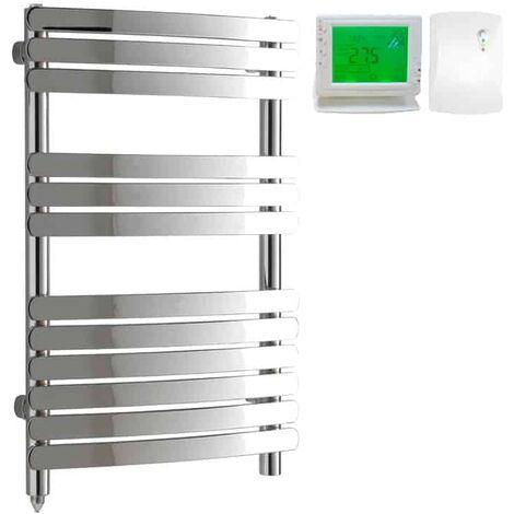 GREEBA Flat Tube Heated Towel Rail, Chrome - Electric + Wireless Timer, Thermostat