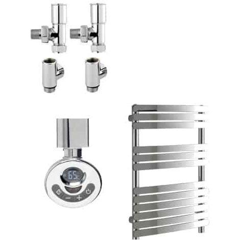 GREEBA Flat Tube Heated Towel Rail / Warmer, Chrome - Dual Fuel, Thermostat + Timer