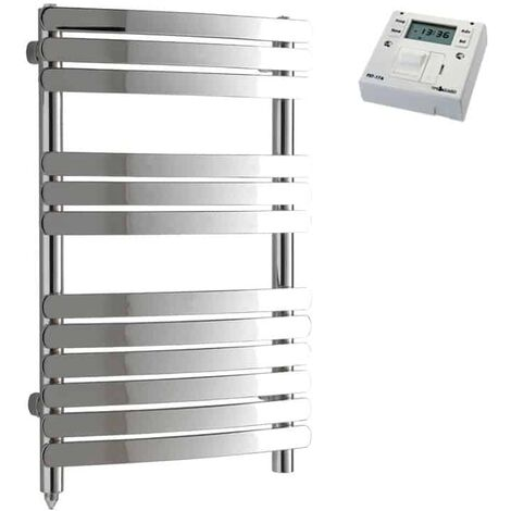 GREEBA Flat Tube Heated Towel Rail / Warmer, Chrome - Electric + Fused Spur Timer