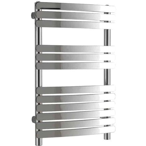 GREEBA Flat Tube Modern Heated Towel Rail / Warmer, Chrome - Central Heating