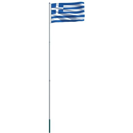 Greece Flag and Pole Aluminium 6 m