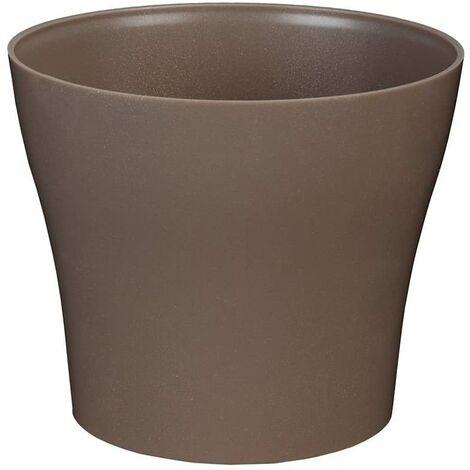 greemotion Pot de fleur rond 19cm Tulipan couleur taupe - Pot à fleurs élégant en plastique pour l?intérieur et l?extérieur - Pot de fleurs zen aux lignes modernes