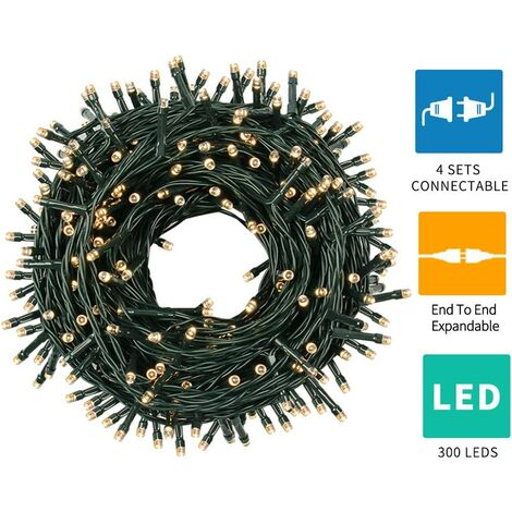 Green 105FT 300 LEDS Christmas Lights With End To End Plug, Christmas Tree Lights Outdoor Indoor Fariy Lights For Holiday Party Wedding Christmas Decoration (Warm White)