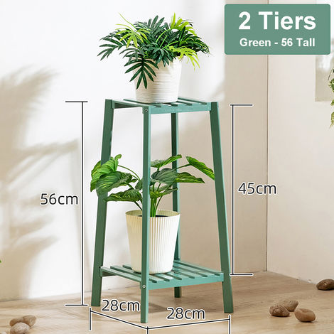 Green 2 Tier Wooden Flower Pot Holder
