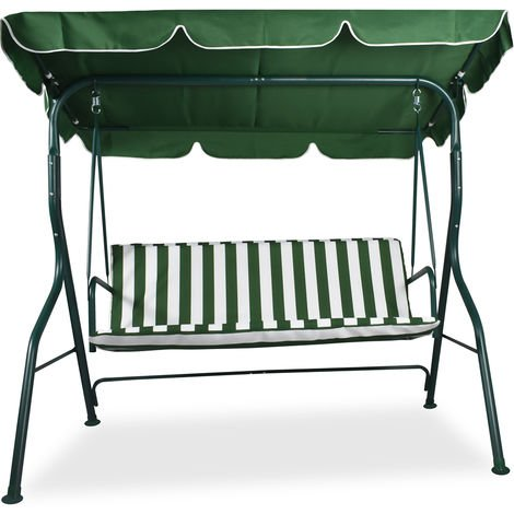 Green 3 Seater Outdoor Garden Swing 170x110x152 Cm with Waterproof Anti-UV Roof Top Cover and comfortable resistant cushions.
