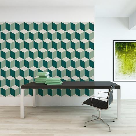Green 3D cubes Self-adhesive wall mural 216cm x 108cm
