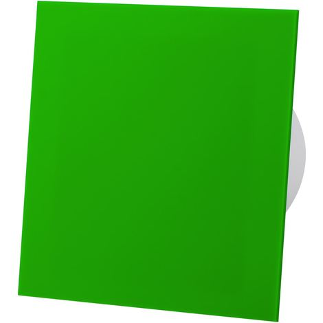 Green Acrylic Glass Front Panel 100mm Timer Extractor Fan for Wall Ceiling Ventilation