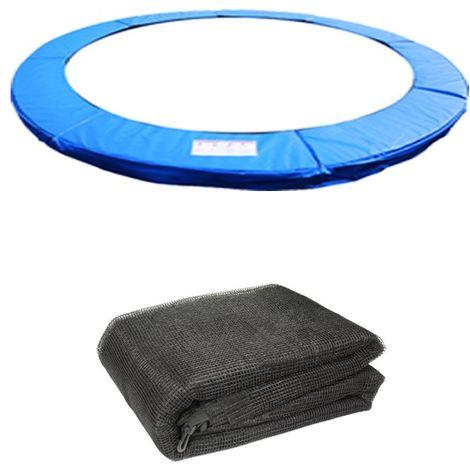 Green Bay Coussin de Protection avec Filet de S¨¦curit¨¦ pour Trampoline Bleu