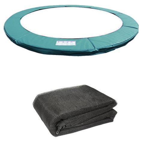 Green Bay Coussin de Protection avec Filet de Sécurité pour Trampoline Vert