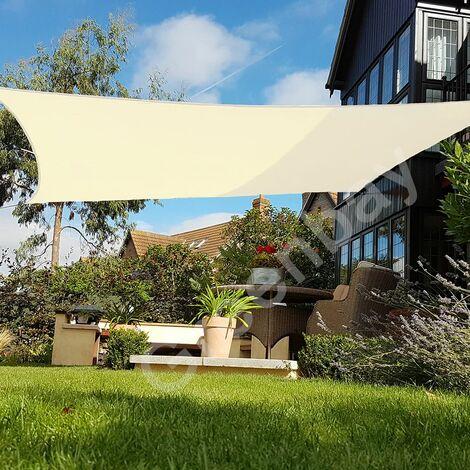 Green Bay Creme Sonnensegel Sonnenschutz Segel f¨¹r Balkon Terrasse Camping Garten | UV-Schutz PES Polyester | Quadrat 5x5m