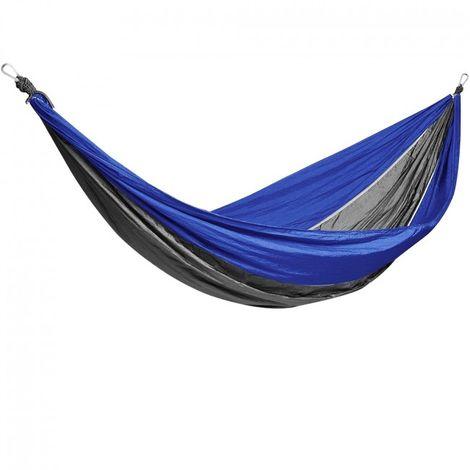 Green Bay Hamac de Camping Bleu-Gris 270cm x 140cm Nylon Parachute à Séchage Rapide Ultra-Léger, 2 x Mousquetons de Qualité Supérieure, 2 x Cordes, 300 kg de Capacité de Charge
