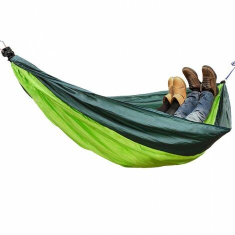 Green Bay Hamac de Camping Vert Foncé et Vert Clair 270cm x 140cm Nylon Parachute à Séchage Rapide Ultra-Léger, 2 x Mousquetons de Qualité Supérieure, 2 x Cordes, 300 kg de Capacité de Charge