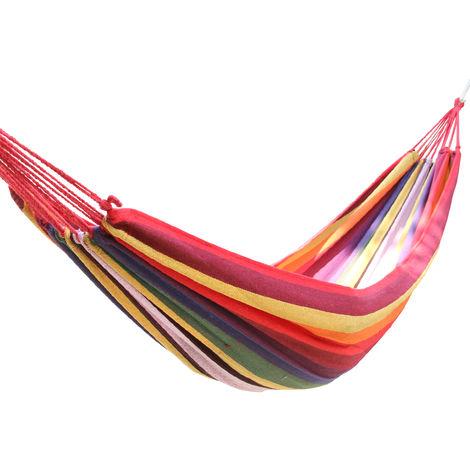 Green Bay Hamac en Toile 200x80cm Multi-Rouge pour Jardin Patio Plage Voyage Camping Hamac ¨¤ Balan?oire avec Sac de Rangement
