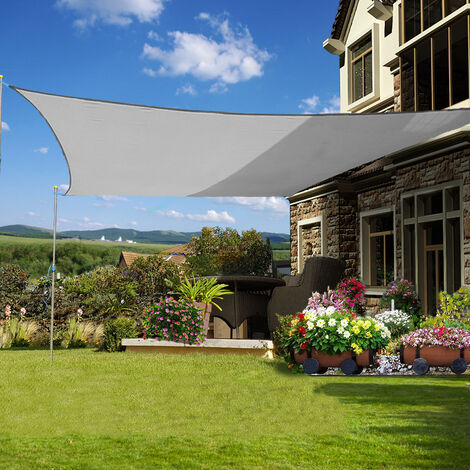 Green Bay Rectangle Anti-UV Sun Shade Sail for Outdoor Garden Patio Party Sunscreen Awning Canopy Grey With Free Rope(4x5m)