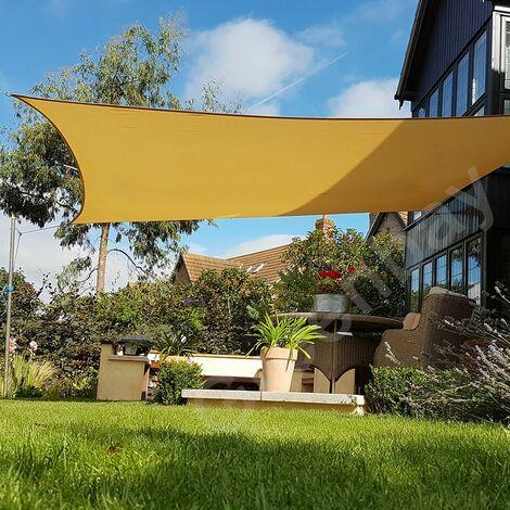 Green Bay Sand Sonnensegel Sonnenschutz Segel f¨¹r Balkon Terrasse Camping Garten | UV-Schutz PES Polyester | Quadrat 4x4m