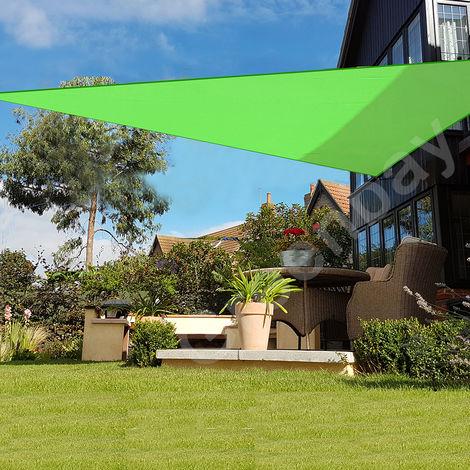 Green Bay Voile d'Ombrage 160g/m2 Jardin Patio Fête Toile Solaire 98% Résiste aux UV Triangle 3x3x3m