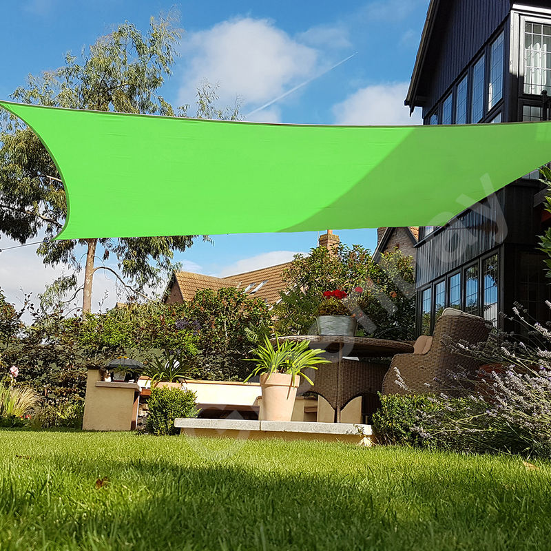 Green Bay Voile d'Ombrage 160g/m2 Jardin Patio Fête Toile Solaire 98% Résiste aux UV Carré 3x3m Vert Clair