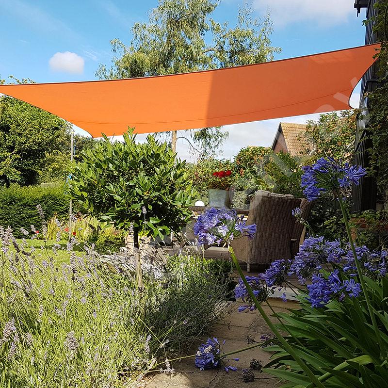 Green Bay Voile d'Ombrage 160g/m2 Jardin Patio Fête Toile Solaire 98% Résiste aux UV Rectangle 5x4m Orange