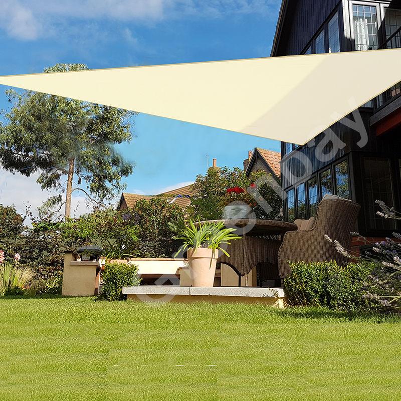 Green Bay Voile d'Ombrage 160g/m2 Jardin Patio Fête Toile Solaire 98% Résiste aux UV Triangle 3.6x3.6x3.6m Crème