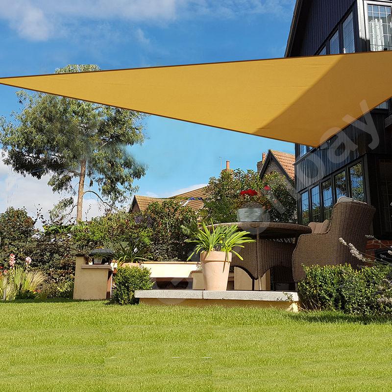 Green Bay Voile d'Ombrage 160g/m2 Jardin Patio Fête Toile Solaire 98% Résiste aux UV Triangle 3.6x3.6x3.6m Sable